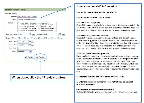 Create volunteer shifts
