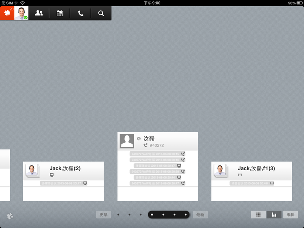 iPad interface