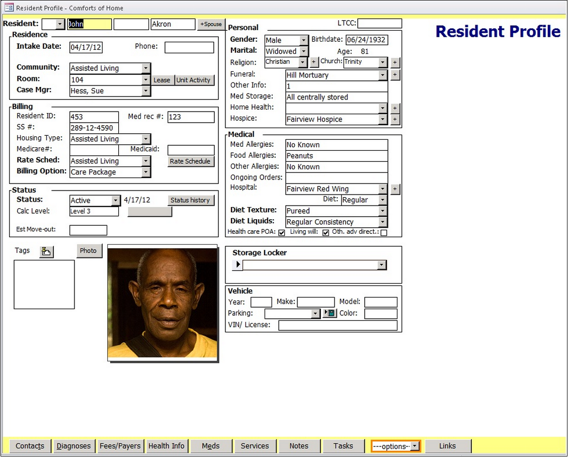 Resident profile