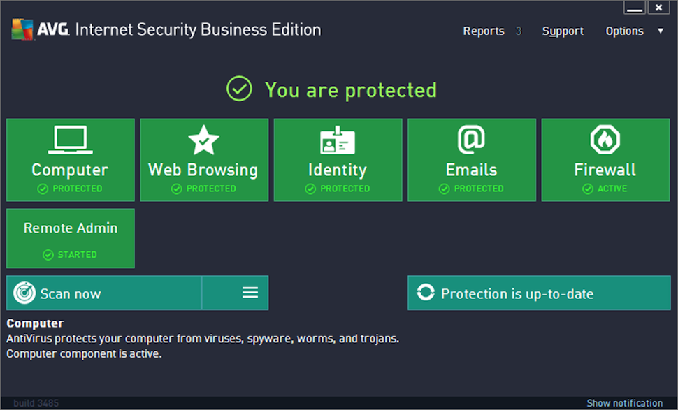 AVG Internet Security Business Edition - Main screen
