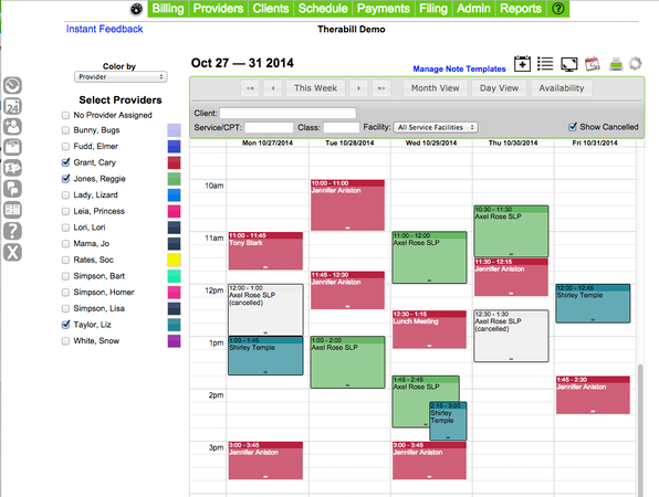 Therabill - Create Appointments/Edit Provider Schedules