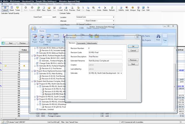 EDM's estimate-revision log
