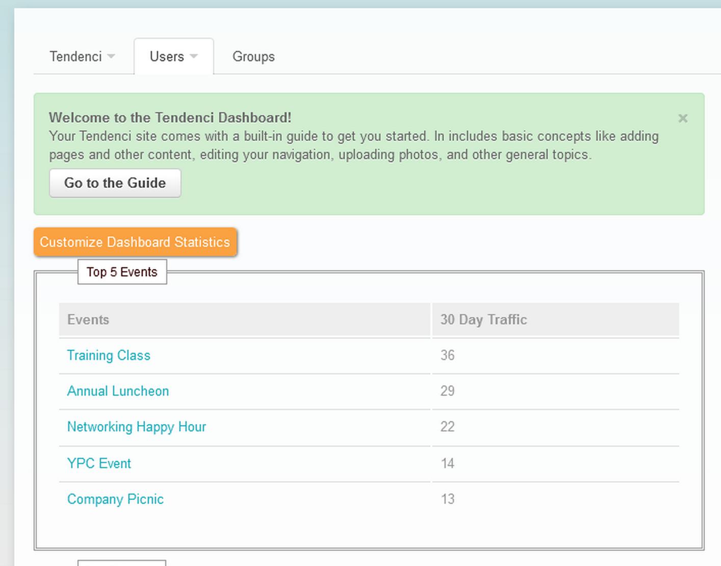 Customizable dashboard