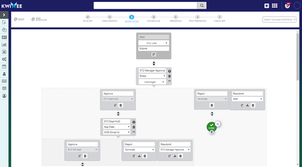 Quixy workflow creation screenshot
