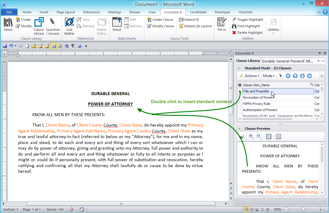 Assembly from Word task pane