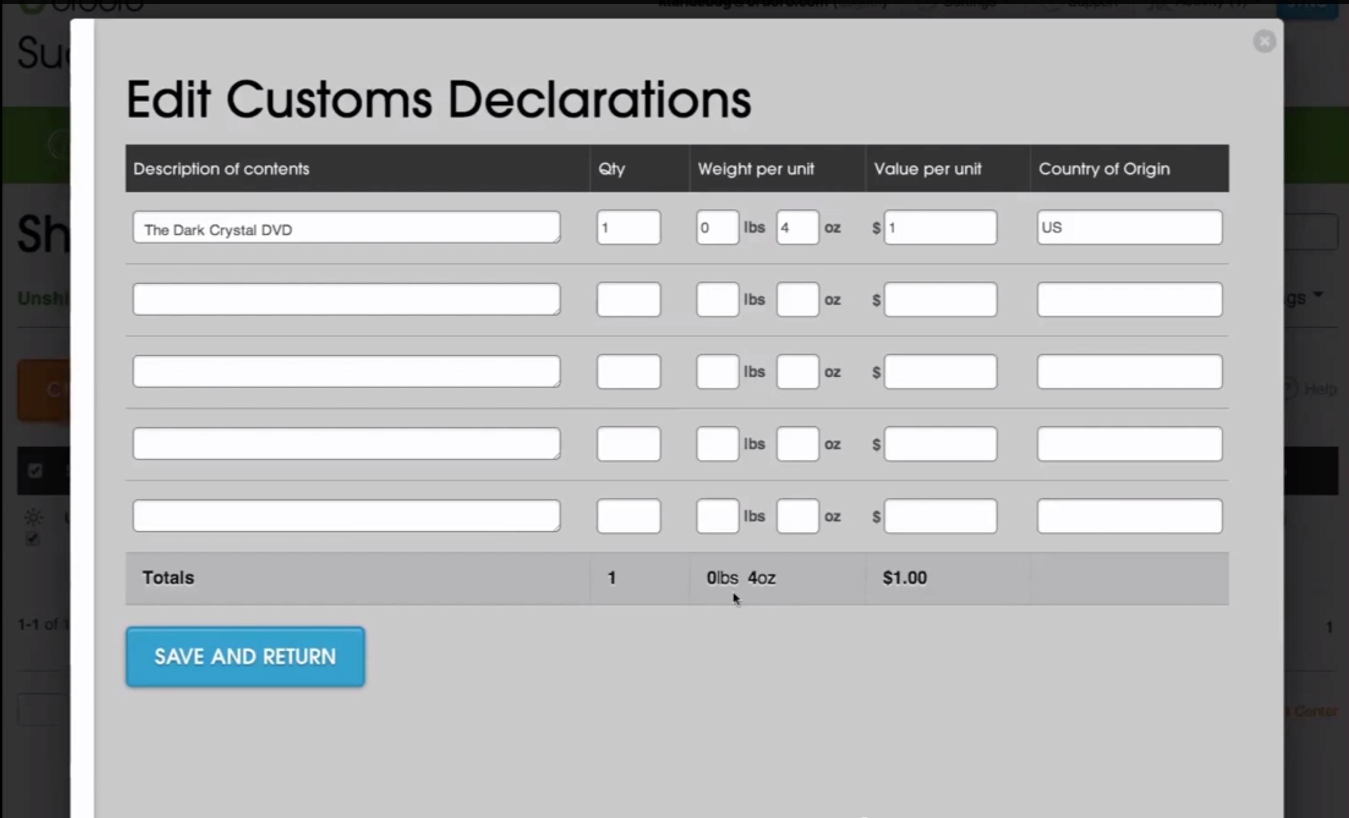 Customs declarations