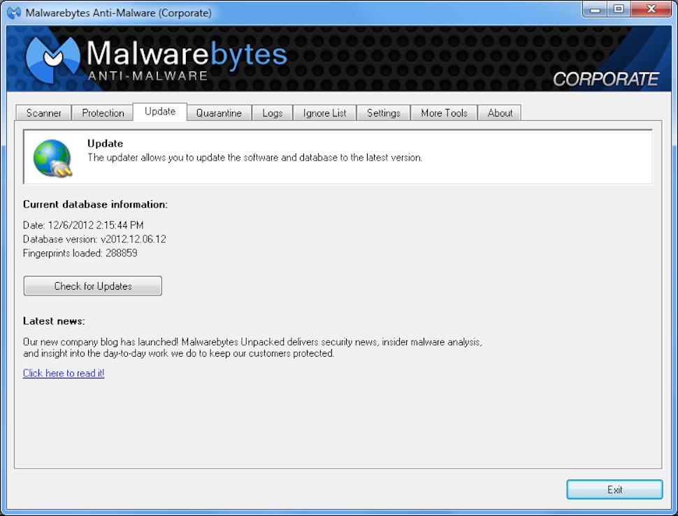 Malwarebytes Anti-Malware for Business - Update page