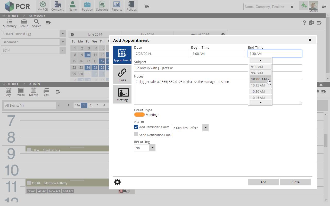 PCRecruiter - Activity Logging & Schedule Management