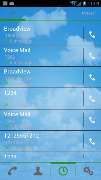 Softphone call history