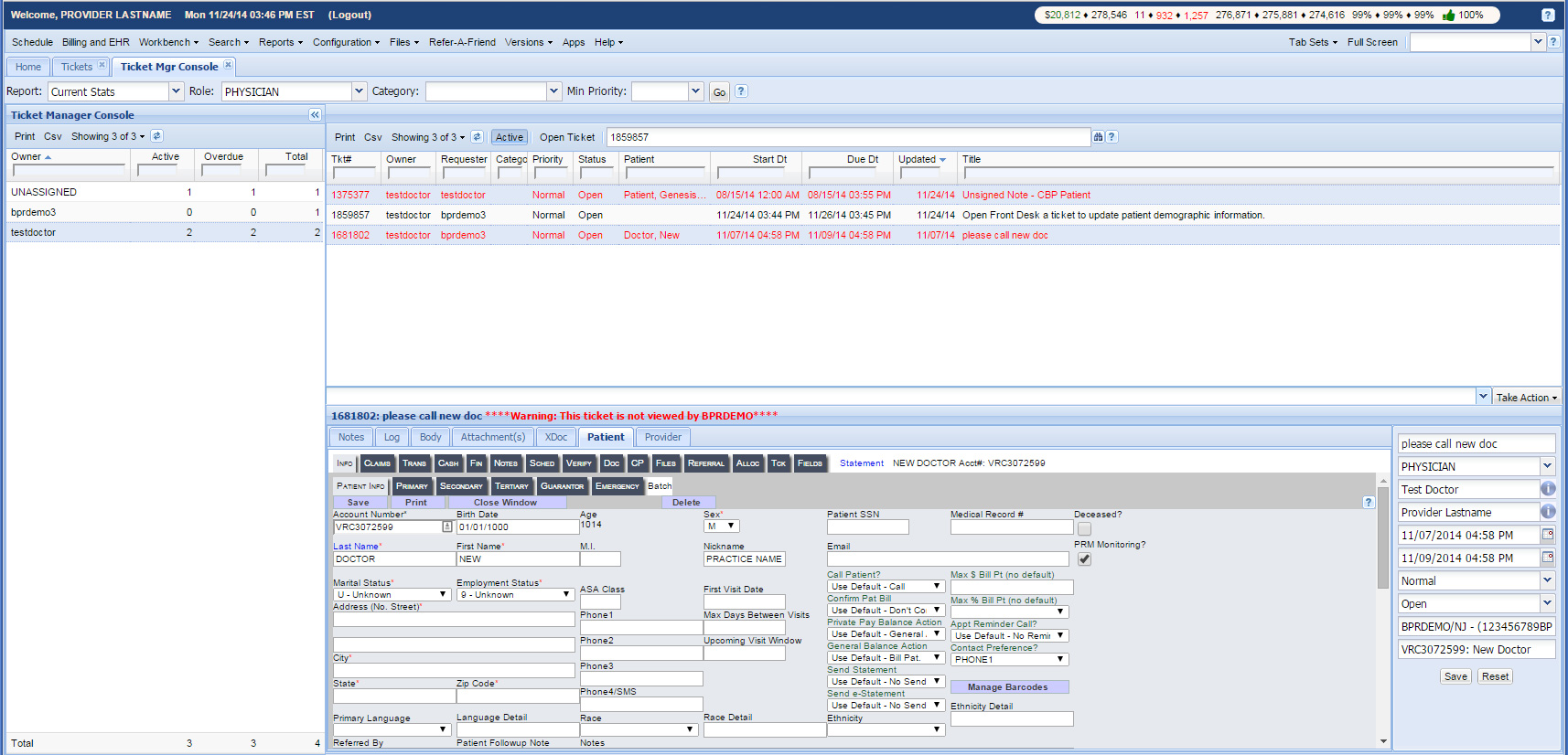 BPR Demo Ticket Manager Console
