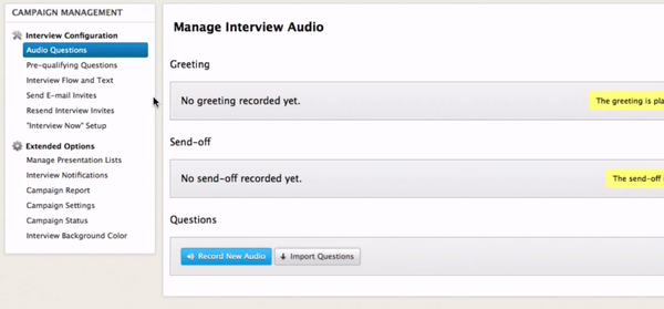 Manage interview audio