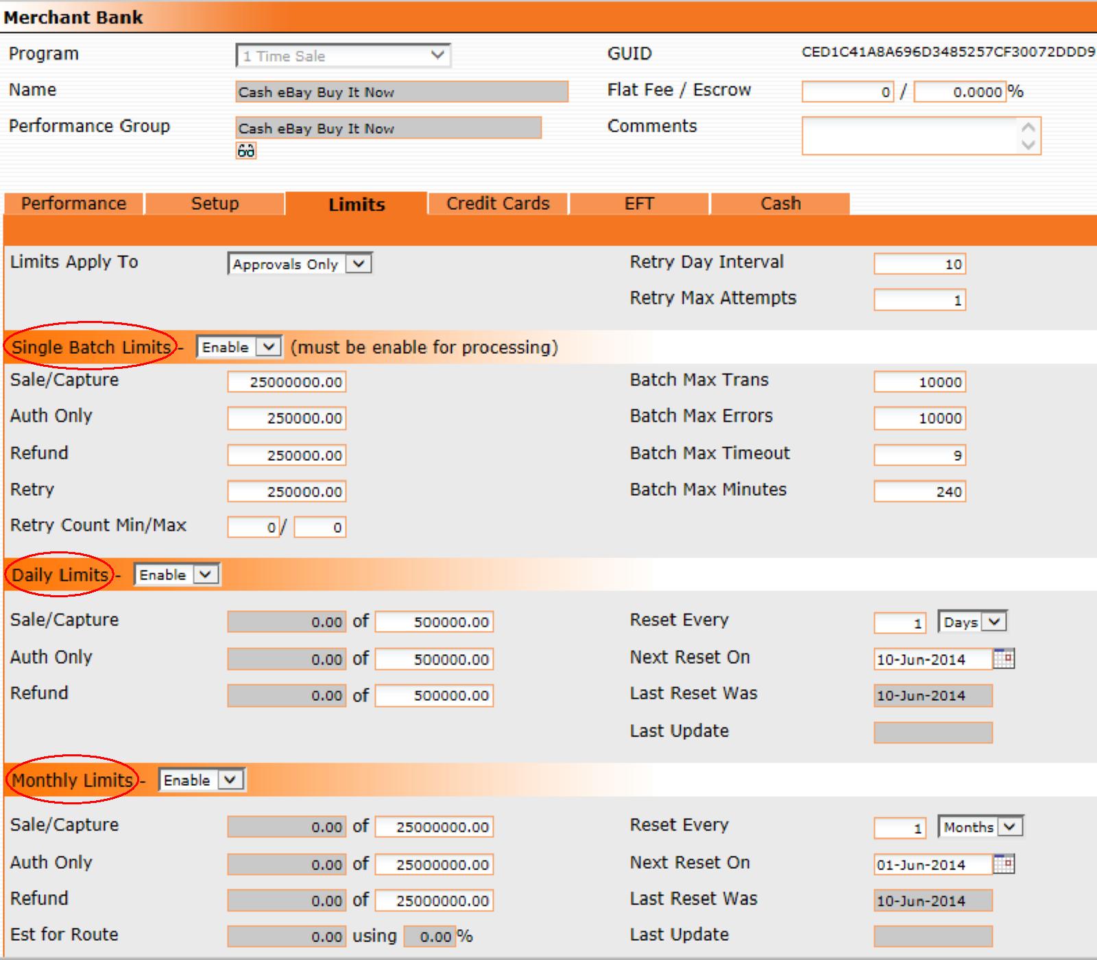 Merchant Bank Limit Options