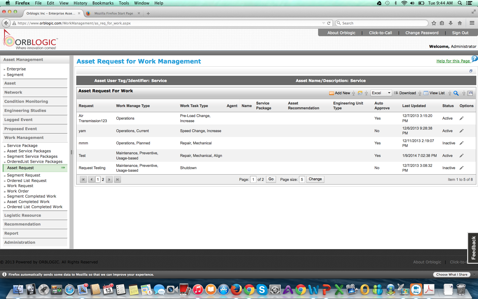 Asset Request for Work Management