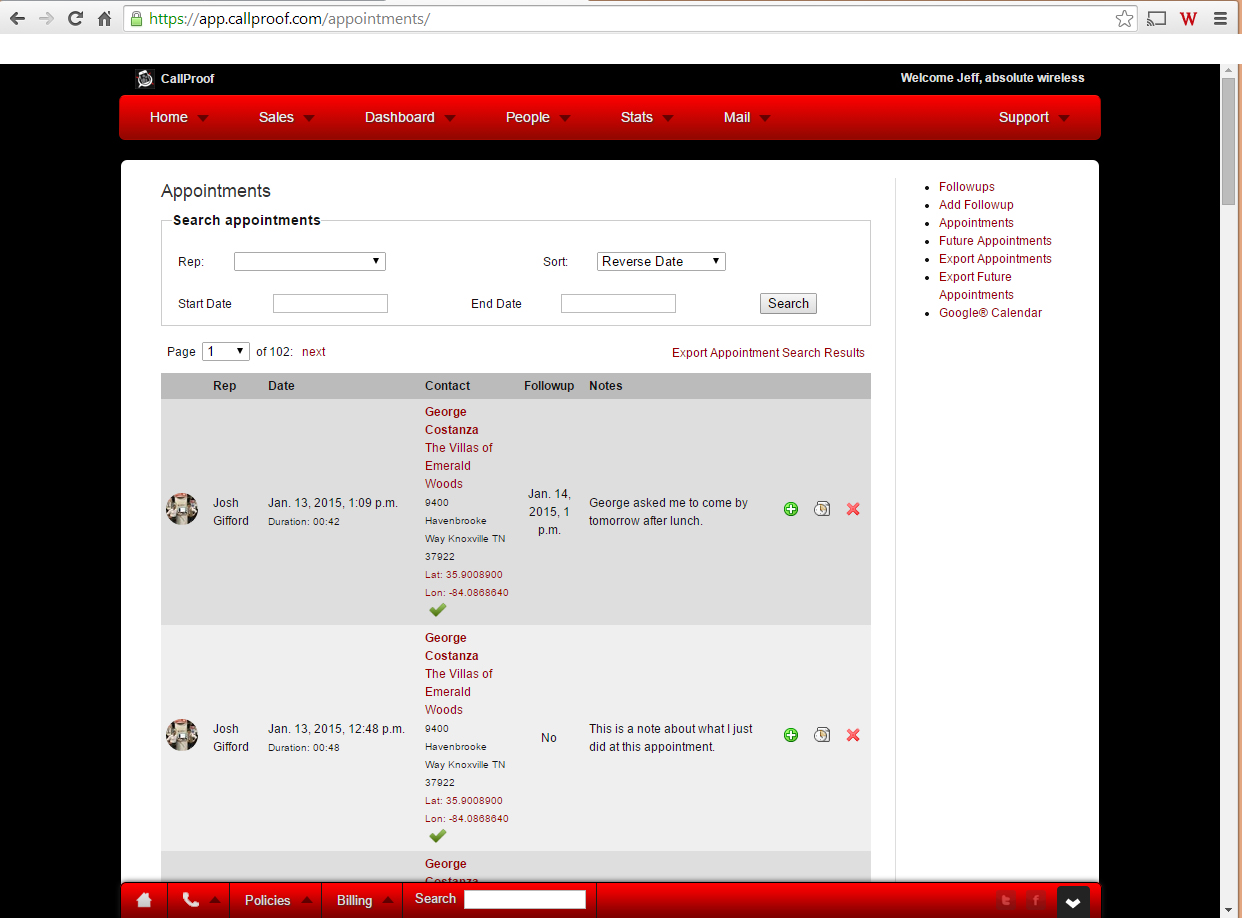 Real-Time View of Appointments