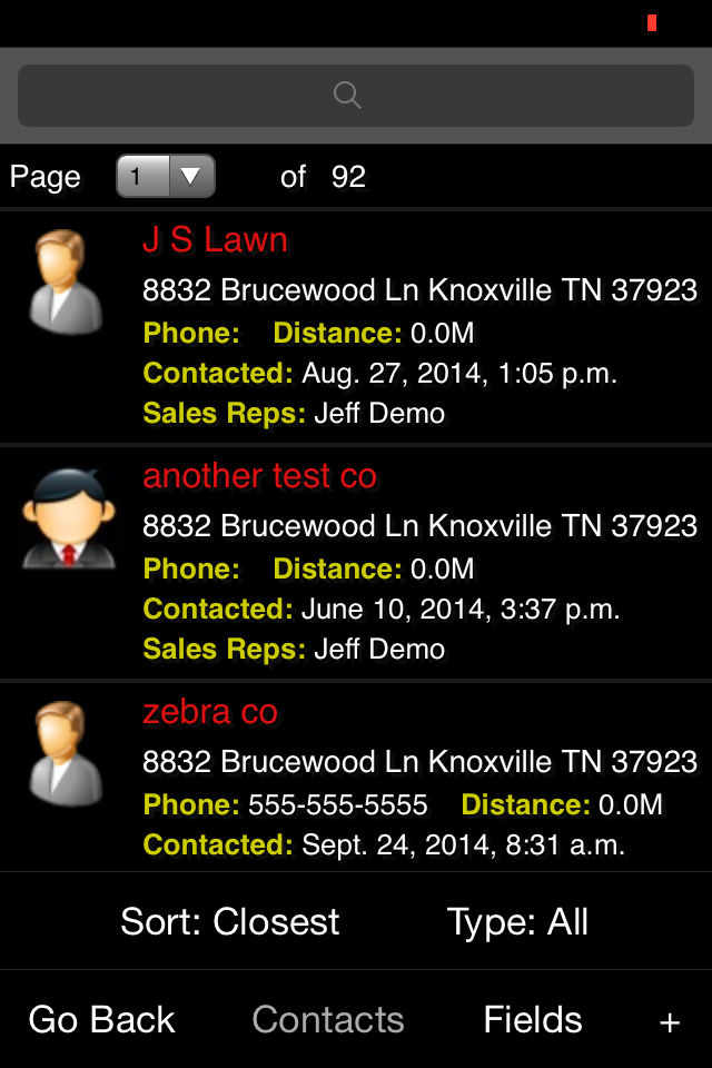 View Contacts by Current Location