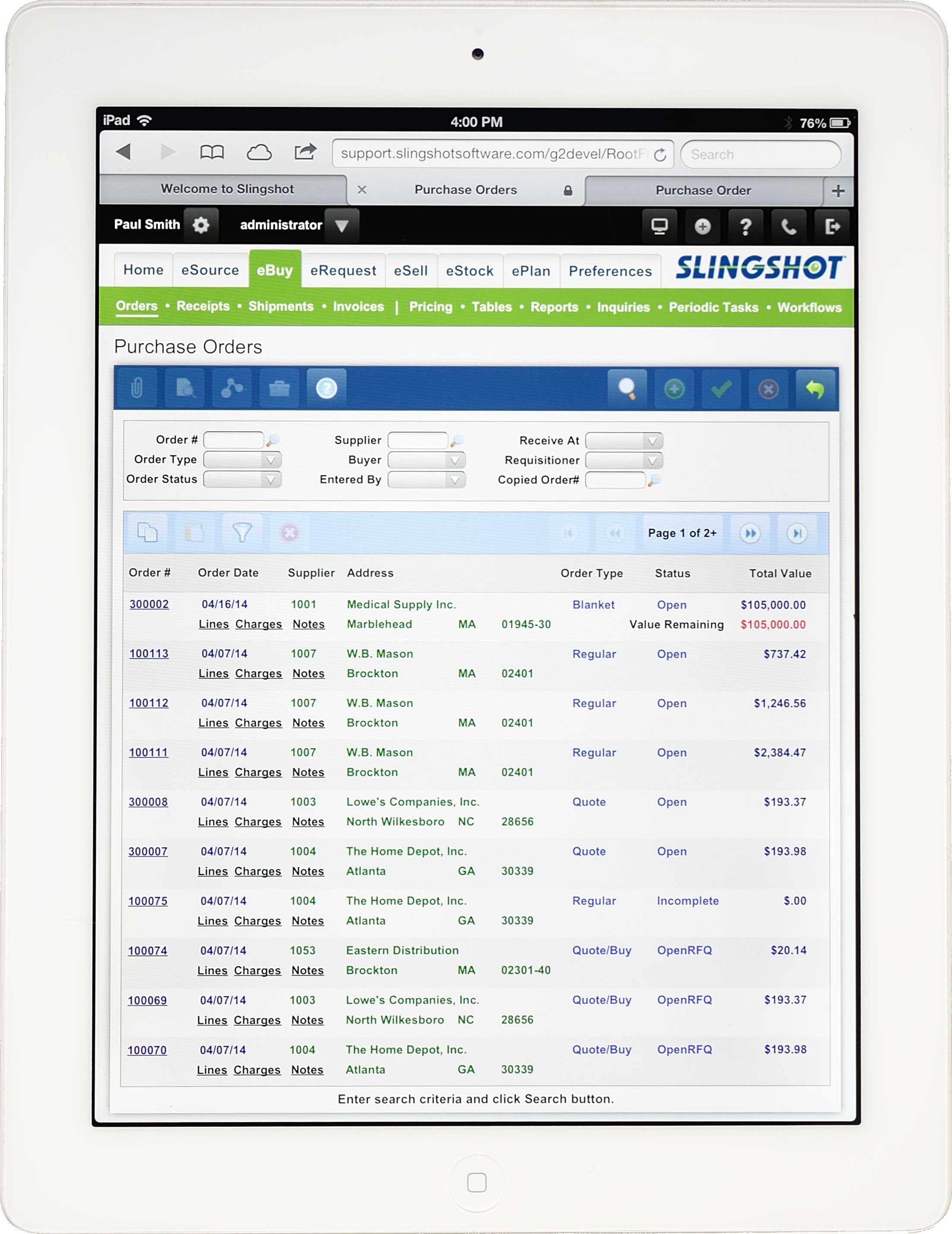 Purchase order inquiry (Tablet)