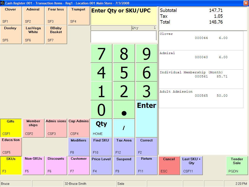 POS Transaction Entry Screen
