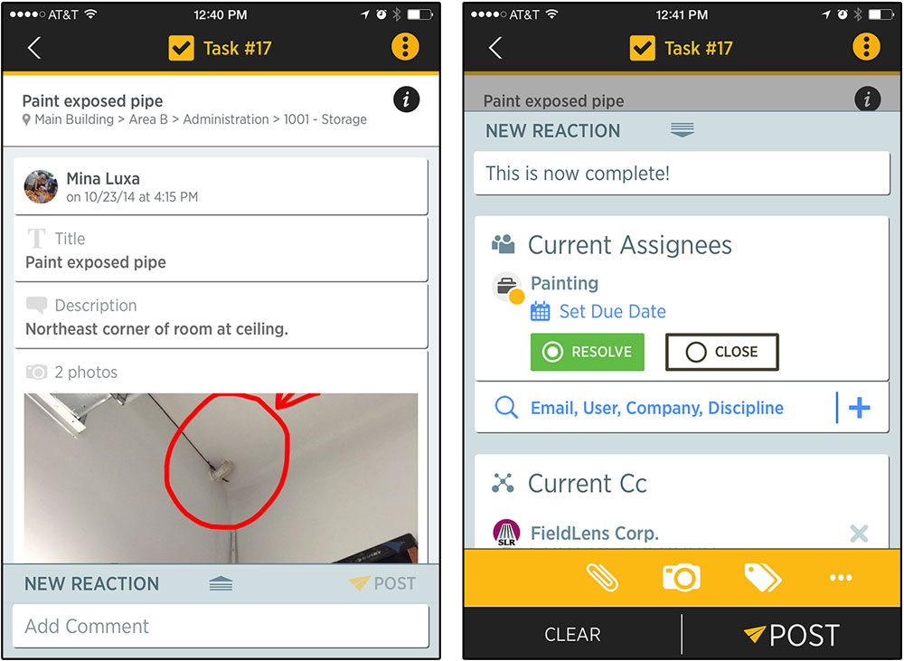 Mobile app task display