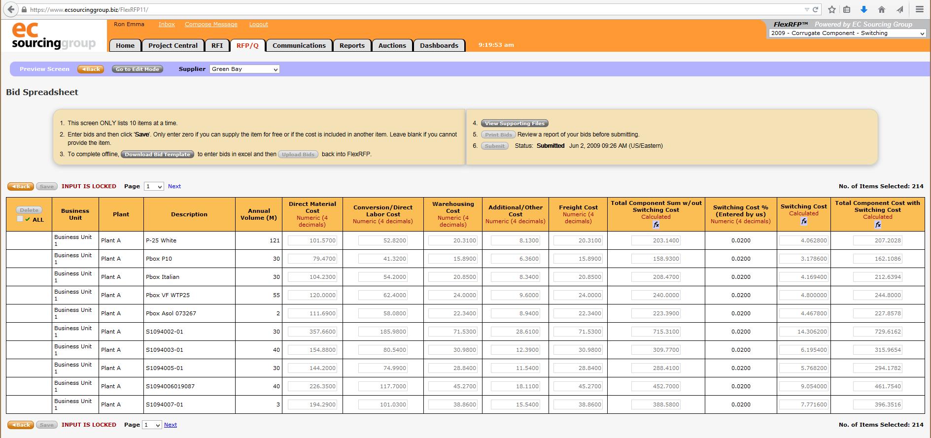 Supplier View of Bid Spreadsheet