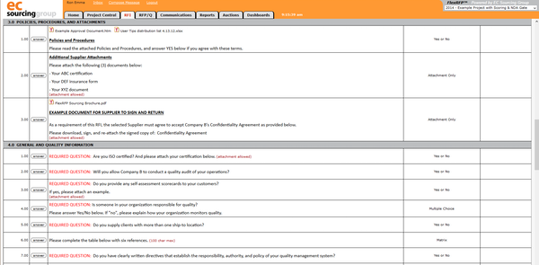 Supplier View of RFI Questions
