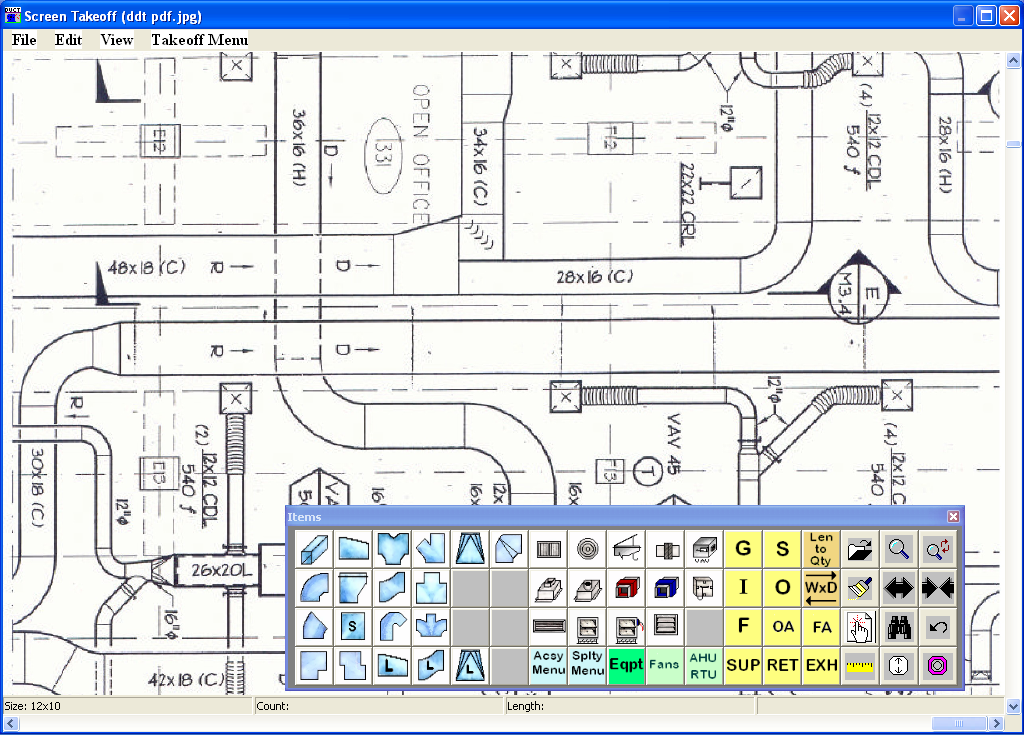 Digital Drawing Takeoff Screen