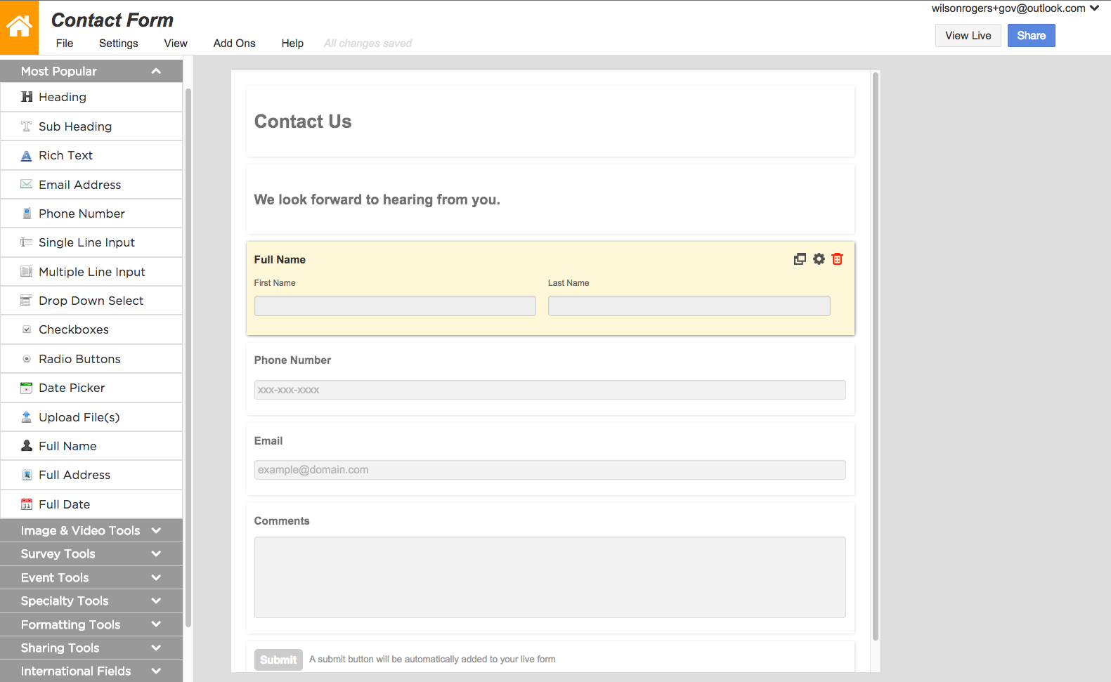Create web forms, surveys, and questionnaires