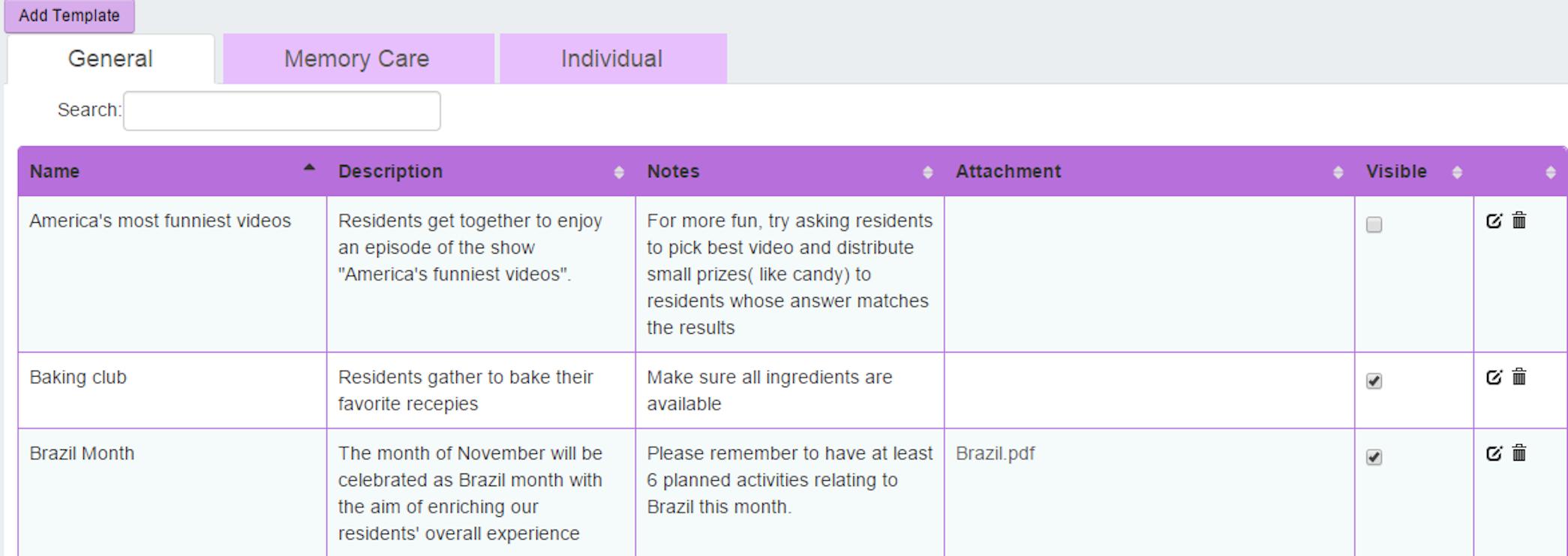 Activity templates