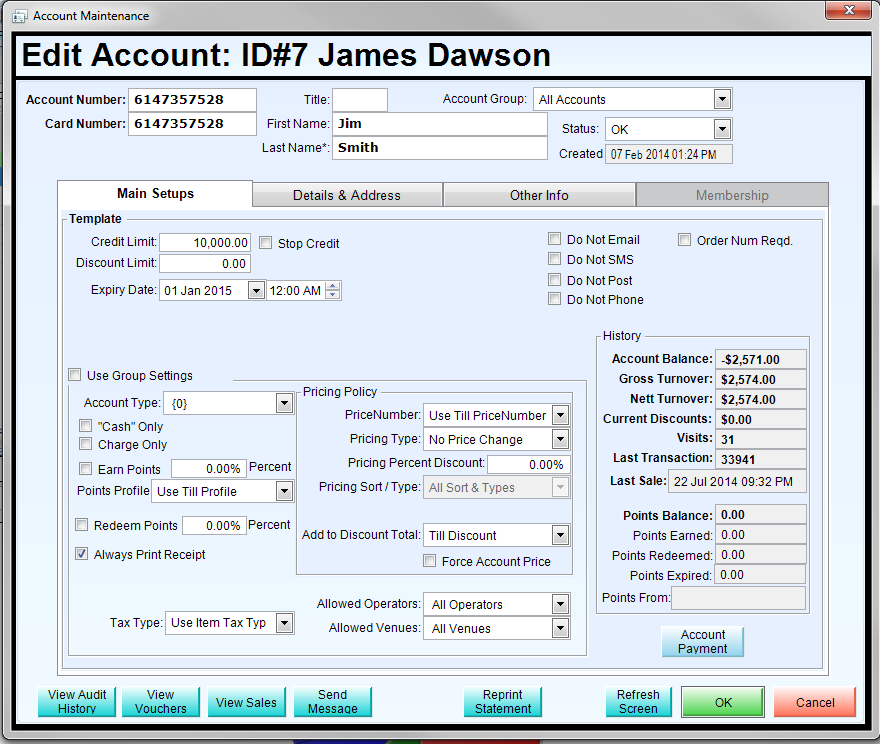 Customer account information