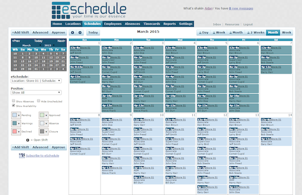 Monthly Schedule View