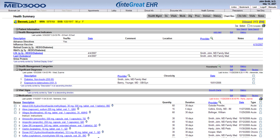 MED3OOO InteGreat EHR - Health Summary