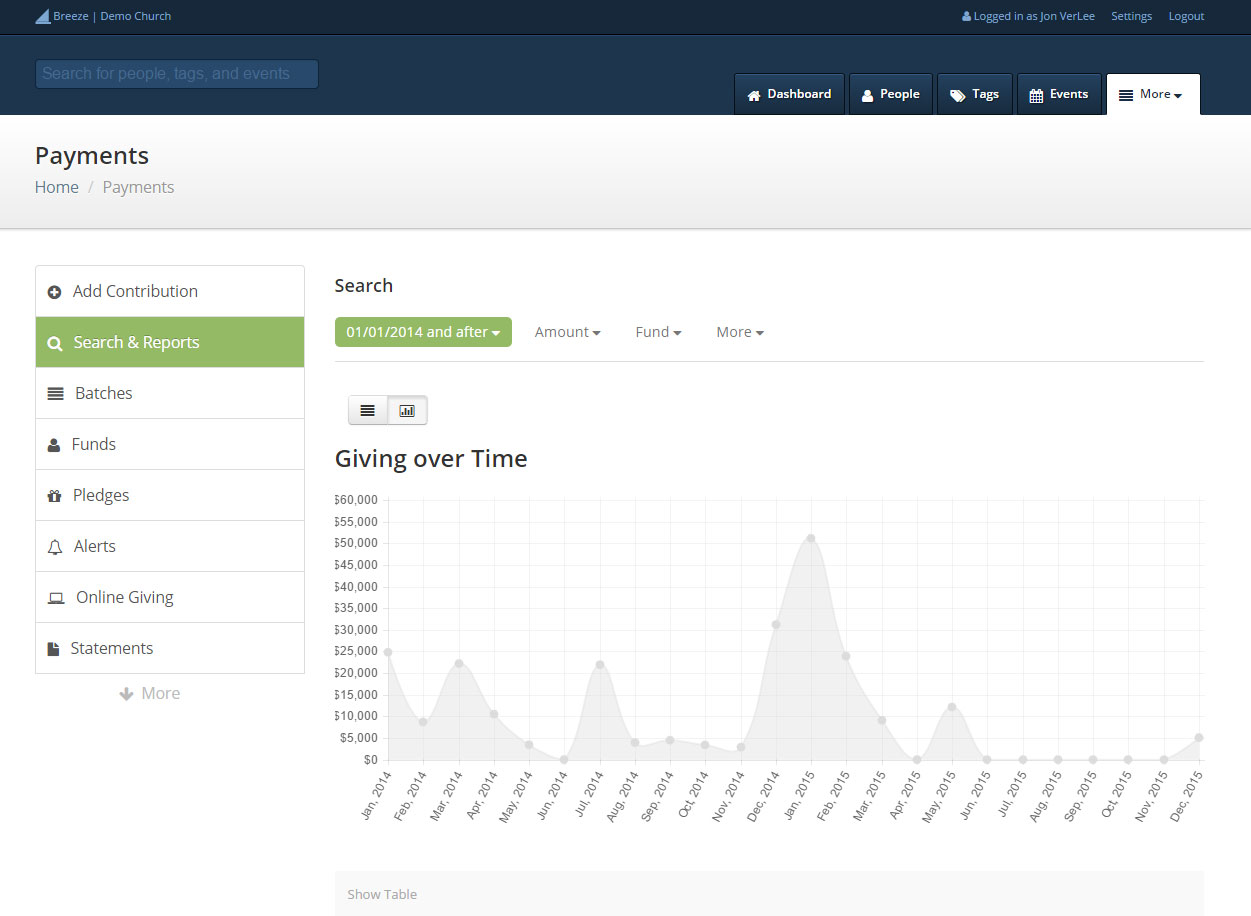 Online giving and contribution tracking