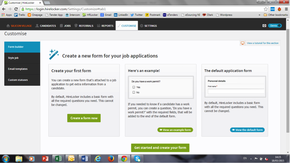 Customise forms for your job applications