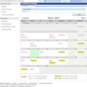 Preventative maintenance calendar
