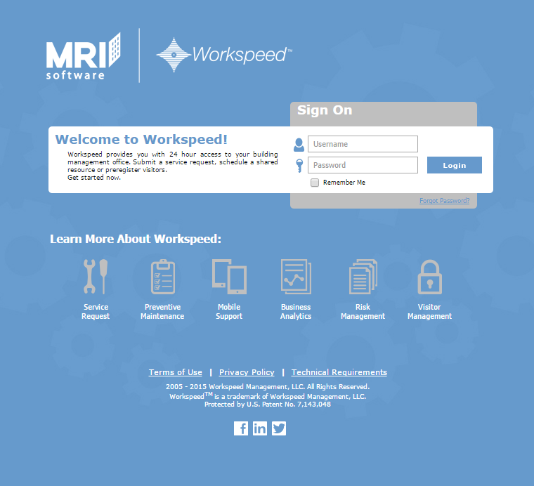 Workspeed login page