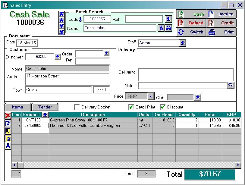 Cash Sale Screen