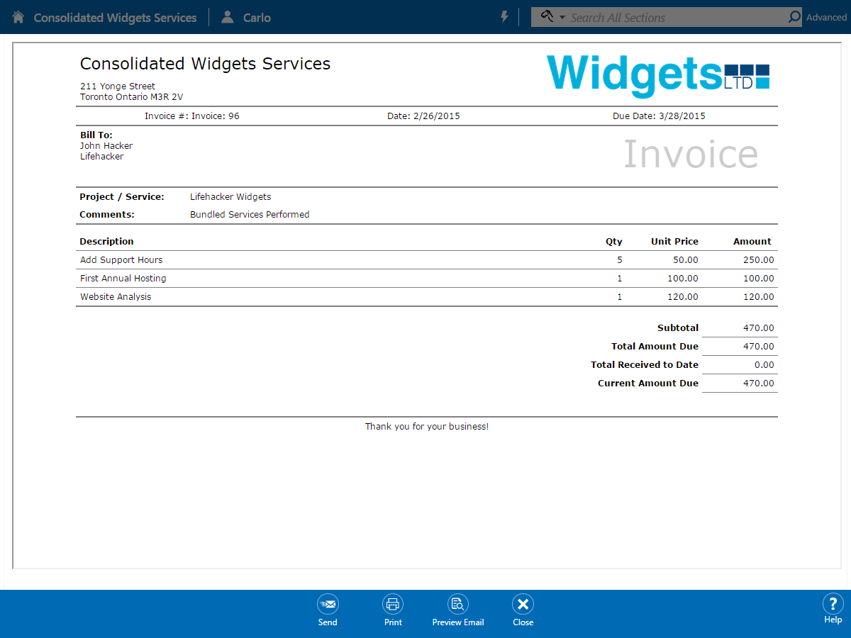 Project Invoice