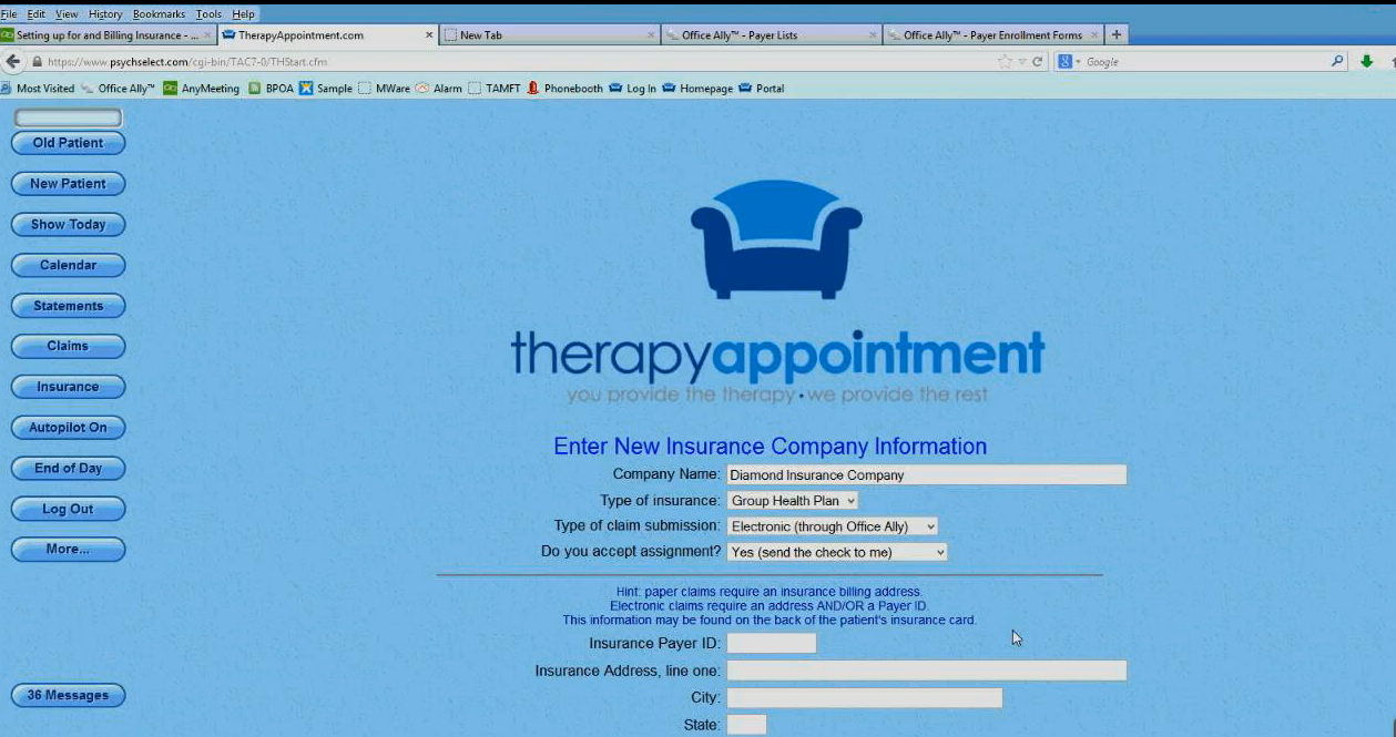 TherapyAppointment - Electronic insurance billing