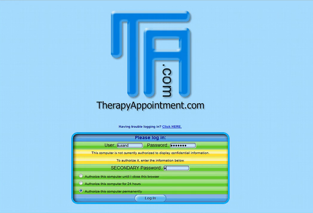 TherapyAppointment - Login page
