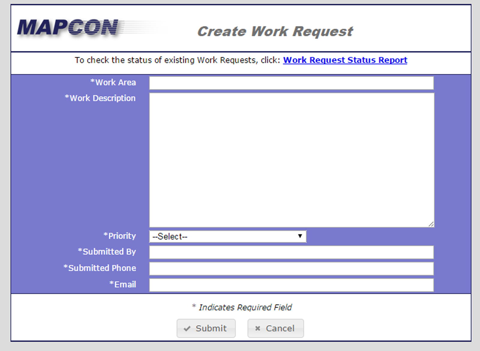 HTML work request