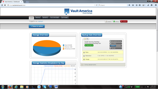 Vault America Cloud Backup & Recovery - Dashboard