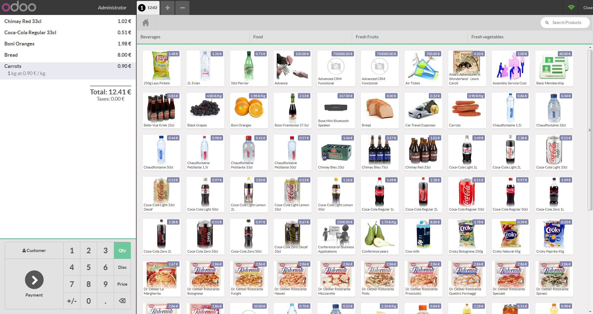 Odoo Point of Sale - Inventory shopping cart