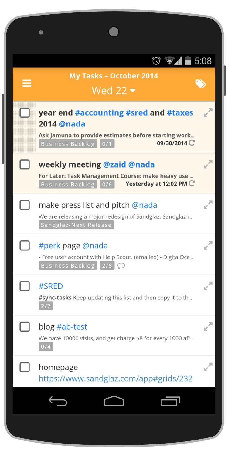 My tasks on Android