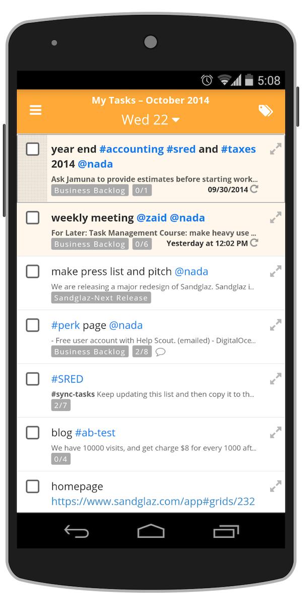 My tasks on Android