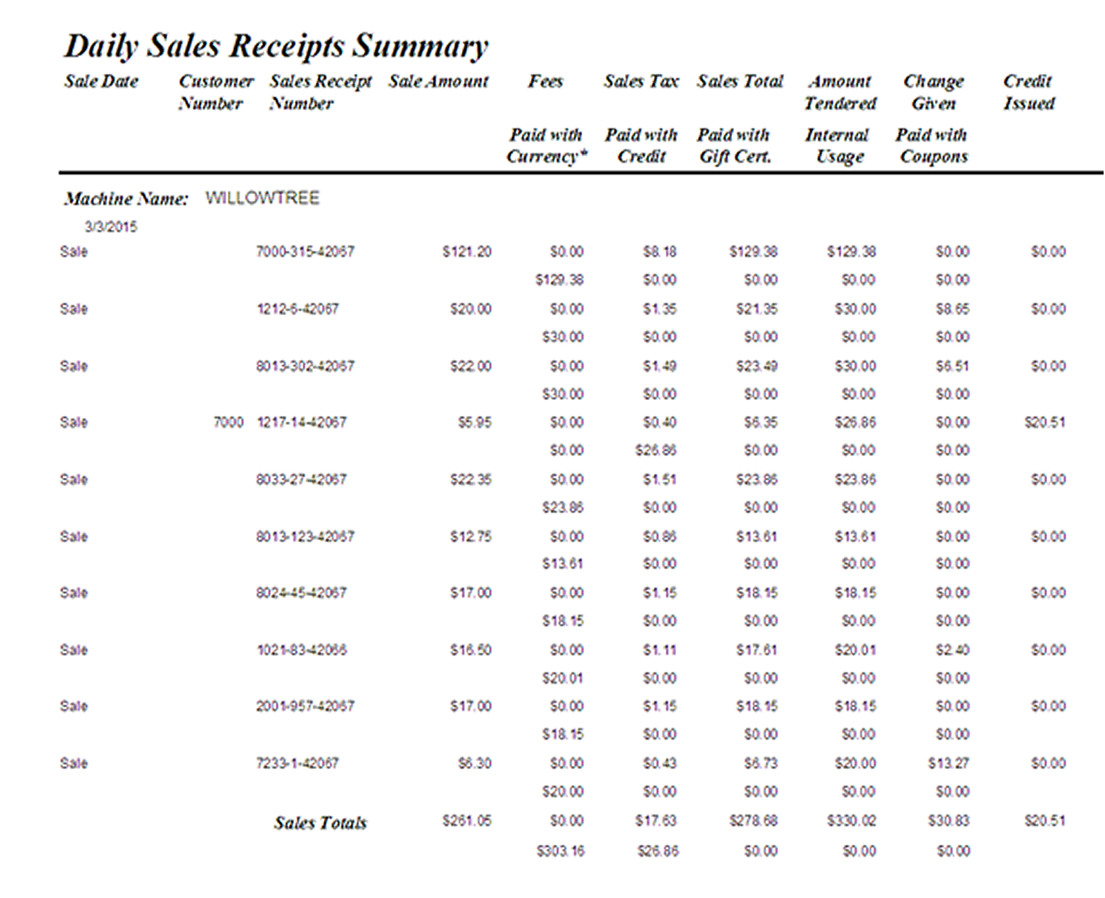 Example Daily Sales Receipts Report