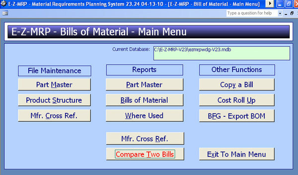 Bills of Material Main Menu
