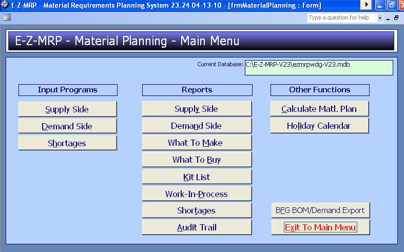 Material Planning Main Menu