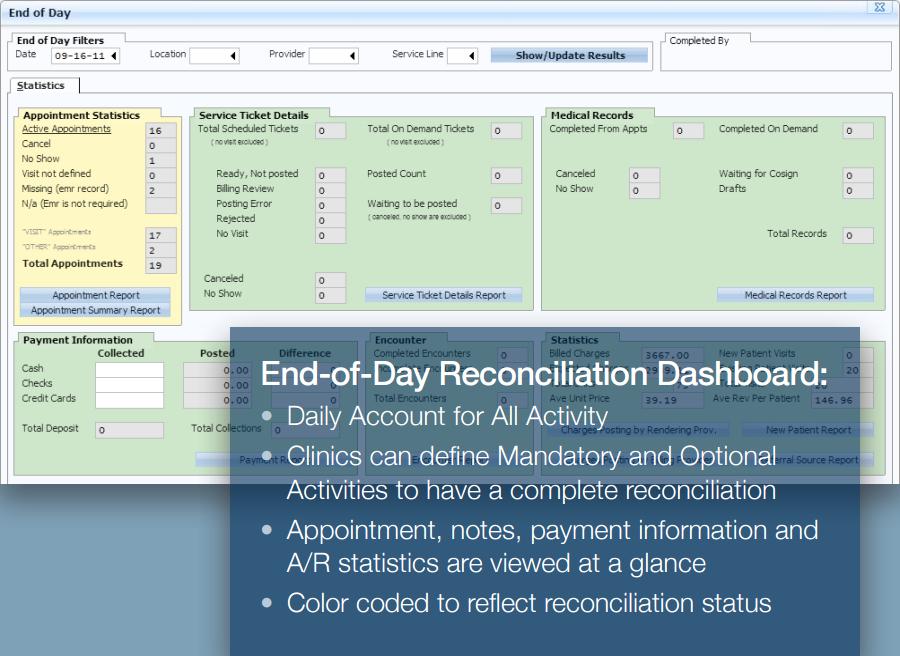 Reconciliation dashboard