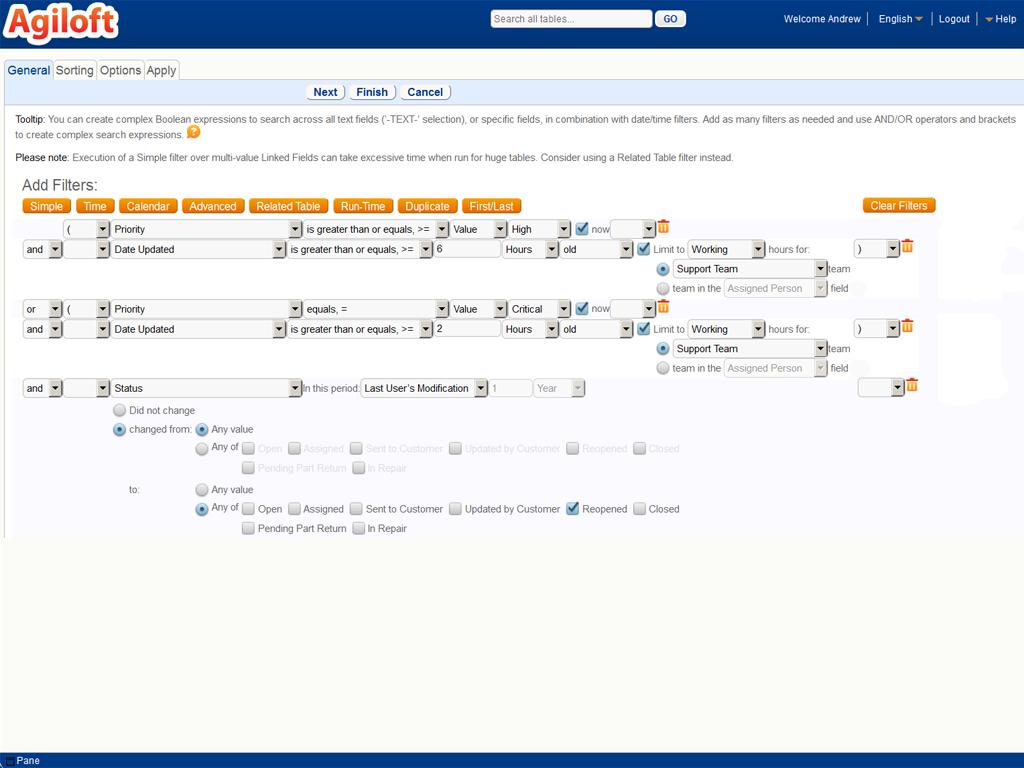 Agiloft - Complex search capabilities