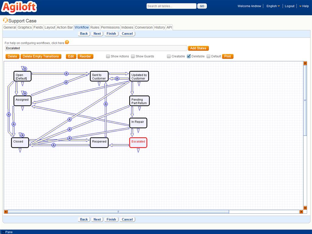 Agiloft - Graphical workflow editor