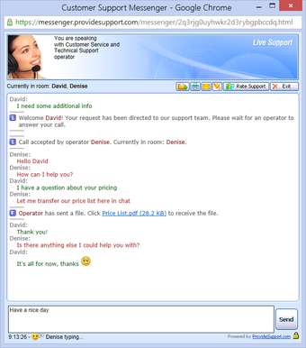 Live chat messenger